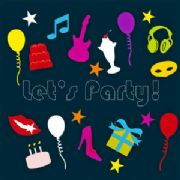 Pack of 8 Party Invitations - Let's Party!